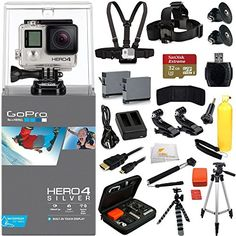 GoPro HERO4 SILVER + EVERYTHING YOU NEED Accessory Kit. Inlcudes SanDisk Extreme 32GB Memory Card + Chest Strap + Head Starp + 2 Extended Life Replacement Batteries + More  http://www.discountbazaaronline.com/2015/11/21/gopro-hero4-silver-everything-you-need-accessory-kit-inlcudes-sandisk-extreme-32gb-memory-card-chest-strap-head-starp-2-extended-life-replacement-batteries-more/