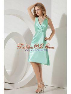 fashionable V-neck Apple Green Taffeta Dama Dress for juniors
