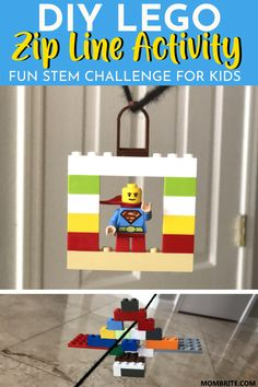 DIY Lego Zip Line Activity: Fun STEM Challenge For Kids - My kids really enjoyed zip lining in France last summer, so when I suggested making a LEGO zip line - Indoor Activities For Kids, Toddler Activities, Preschool Activities, Summer Activities, Au Pair, Diy Lego, Boredom Busters For Kids, Lego Challenge, Stem Challenges