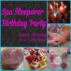 Spa Sleepover Birthday Party Ideas! Click through to see our fun party ideas.. we've got some really cute DIY fun party activities like making lip gloss, foot scrubs, fizzy bath bombs. So much fun for the girls! Sisters Shopping on a Shoestring