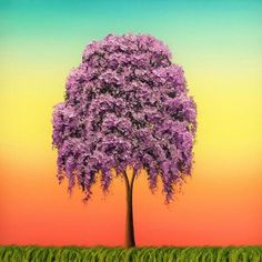 Weeping Willow Tree Art Print, Purple Tree Painting Giclee Print, Rainbow Sky Oil Painting Print, Multicolored Contemporary Canvas Art by BingArt on Etsy