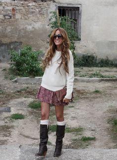 baggy sweater, short skirt and killer socks