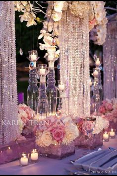 Wedding bling centerpieces... A little over the top for me, but I like this idea!