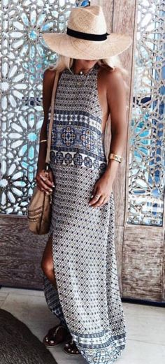 Cool Boho Style Outfit Hat Plus Maxi Dress
