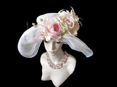 Kentucky Derby hat Easter hat white summer by IfTheHatFitsByJackie, $125.00