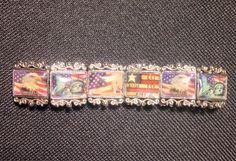 Vintage Patriotic Eagle Flag Liberty Charm USA Stretch Tile Metal Bracelet Nice #StretchBangle