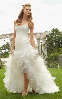 Delicate Embroidered Lace Hi-lo Ruffled Organza Wedding Gown