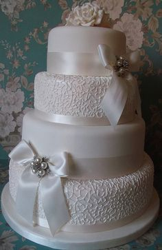 Vintage Lace Wedding Cakes | Vintage Lace ffect Wedding Cake | Flickr - Photo Sharing!