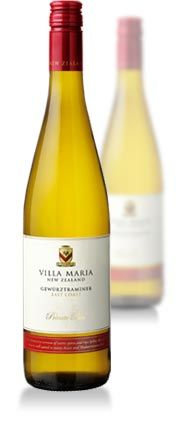 Villa Maria Private Bin Gewurztraminer  Vintage: 2010, €12.07 WINEMAKER'S COMMENT  This wine shows delicate and classic varietal aromas of rose petal, quince and ginger spice. The palate reveals similar flavours, delivered with a seamless texture and balance.  SERVING SUGGESTION  This wine complements many food dishes including Asian and Indian cuisine.