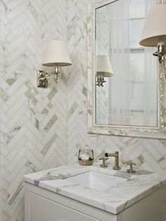 Herringbone wall tiles