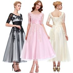 Vintage Style 1940's Applique Long Bridesmaid Dress Evening Masquerade Fit Dress #Unbranded #BallGown #Cocktail