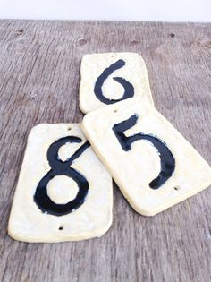 Vintage Tile House Number One Ceramic Black and White Treasury