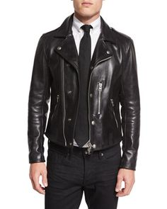 Asymmetric+Leather+Biker+Jacket,+Black+by+TOM+FORD+at+Neiman+Marcus.