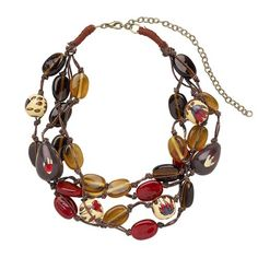 Gold + gray + red necklace
