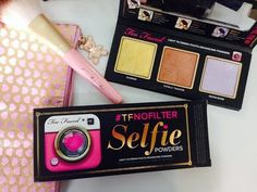 NEW! Too Faced #TFNOFILTER Selfie Powders! - YouTube. Sunrise(yellow)warms, brightens, and neutralizes redness, Totally Toasted adds a smooth, bronzed appearance, and Moon River(violet) brightens dark complexions! Color correcting plus skin perfecting in one!