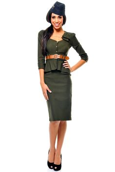 Stop Staring 3/4 Sleeve Army Green Cadete Wiggle Dress - Unique Vintage - Cocktail, Pinup, Holiday & Prom Dresses.