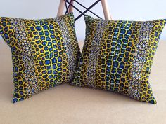 "2 African Print Pillow Covers - Home Decor - Decorative Pillow Covers - Couch Pillows - Throw Pillows - Bespoke - 16"" x 16"" on Etsy, £44.00"