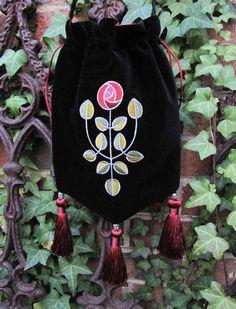 Glasgow Rose black velveteen purse. $52.50, via Etsy.