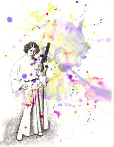 Star Wars Art Princess Leia Watercolor Painting - Original Watercolor Painting via Etsy