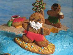 Gingerbread Surfing Santa