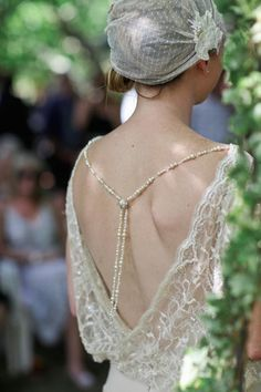 Zealand Wedding by Vela Images Love the back of this wedding gown. (Corina Snow special order)Love the back of this wedding gown. Great Gatsby Themed Wedding, 1920s Wedding, Art Deco Wedding, Wedding Gowns, Dream Wedding, Themed Weddings, Backless Wedding, Wedding Wear, Lace Wedding