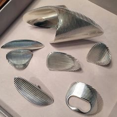 Pieces from The Zaha Hadid Collection, a collaboration between the architect and Georg Jensen.
