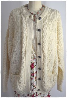 Vintage Ivory Fisherman's Aran Isle Sweater by ChrisMartinDesigns