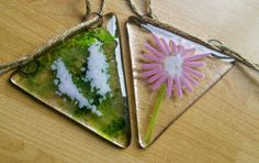 Handmade fused glass bunting, foxgloves and daisies in kiln fused glass, stunning glass art suncatcher. by WhimsicalFusing on Etsy