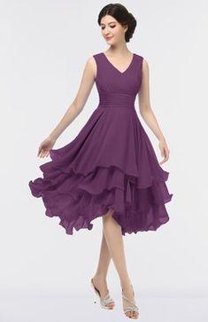 Dahlia Elegant V-neck Sleeveless Zip up Ruching Bridesmaid Dresses