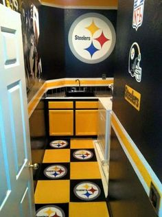Compare Pittsburgh Steelers Man Cave Supplies prices and save big on Steelers Man Cave Supplies and other Pittsburgh-area sports team gear by scanning prices from top retailers. Steelers Gear, Here We Go Steelers, Pittsburgh Steelers Football, Pittsburgh Sports, Steelers Stuff, Steelers Rings, Steelers Hoodie, Football Gear, Football Memes