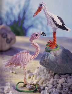 flamingos and storks FREE beading pattern