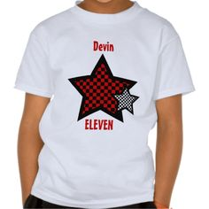 11th Birthday Boy CHECKED Star Custom Name V26 Tshirts #jaclinart #birthday #party #red #black #white #tshirts