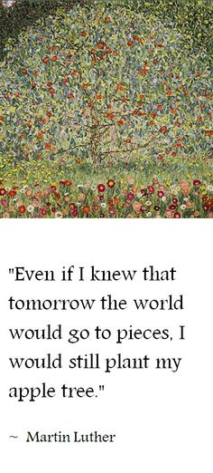 """""""Even if I knew that tomorrow the world would go to pieces, I would still plant my apple tree."""" (~ Martin Luther) 