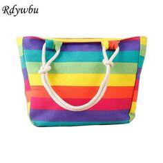 7c76960cfa33 Rdywbu Women s Striped Colorful Rainbow Canvas Handbag 2017 Summer Bohemia  Shopping Beach Bag Big Travel Shoulder Tote Bag B351