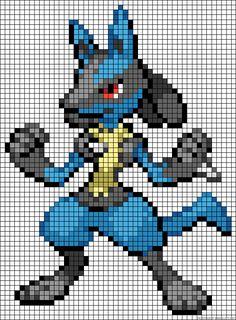 Lucario Pokemon perler bead pattern