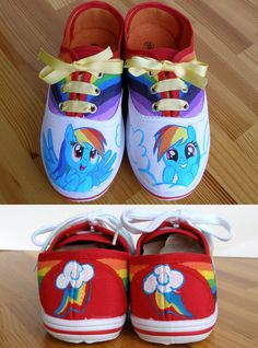 Hand painted Children My Little Pony shoes Rainbow por BeressyArt