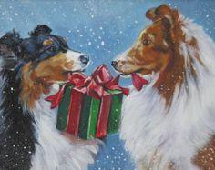 Shetland Sheepdog SHELTIE christmas holiday dog art canvas PRINT of LAShepard painting - Navidad - Hund Shetland Sheepdog Puppies, Christmas Animals, Christmas Dog, Christmas Scenes, Merry Christmas, Mary Engelbreit, Sheepdog Tattoo, Dog Artist, Vintage Christmas