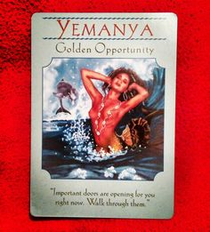 Who's up for some big, happy change? This card jumped out for you! Doors are opening. Stay true to you. Move forward when it feels right for you. Sending Love and Blessings ~Golden Opportunity card from Goddess Guidance Oracle Cards by Doreen Virtue~ . . . #goddessguidance #yemanya #goldenopportunity #bighappychange #ontherightpath #555 #777