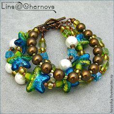 Поцелуй моря - морская звезда,морская тема,подарок девушке,браслет,объемный браслет