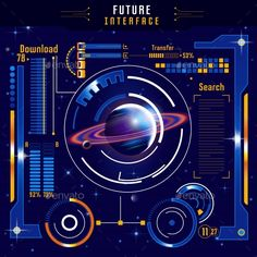 Buy Abstract Future Interface Composition by VectorPot on GraphicRiver. Abstract future interface composition with colored planet in digital space on blue background vector illustration. Technology Design, Digital Technology, New Technology, Interface Design, User Interface, Windows 10 Gratis, Graphic Design Art, Ui Design, Computer Vector