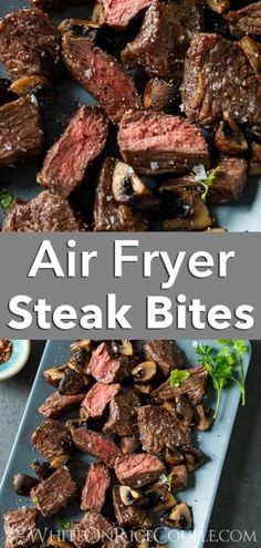 Easy Air fried steak bites recipe in the air fryer. Mushrooms and steak bites are so good and this air fryer steak recipe makes perfect juicy steak bites Air Fryer Oven Recipes, Air Frier Recipes, Air Fryer Dinner Recipes, Beef Recipes, Cooking Recipes, Healthy Recipes, Frying Steak Recipes, Steak Tips In Oven, Recipes With Steak