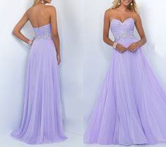 Long Strapless Prom Dress,Sweetheart Chiffon Prom Dress,Lavender Beading Dress,Sexy Sweetheart Prom Dress,Open Back Evening Dress