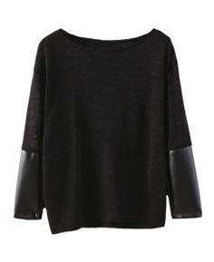 Leather-seamed-sleeves Slim Woolen Jumper