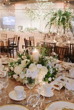 green and white ballroom wedding reception decor via rachel a
