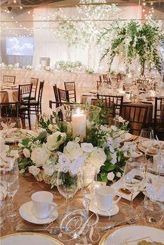 green and white ballroom wedding reception decor via rachel a / http://www.himisspuff.com/greenery-wedding-color-ideas/4/