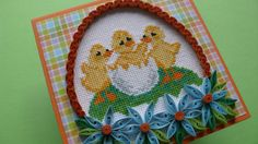 Quilling Easter Cross Stitch Egg Card Handmade Card от Evashop74