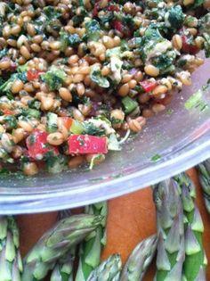 Wheat Berry Salad with 4-Herb Lemon Pesto & Walnuts