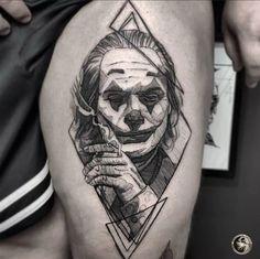 Put on a Happy Face — Joker Tattoo - Wormhole Tattoo 丨 Tattoo Kits, Tattoo machines, Tattoo supplies Sketch Tattoo Design, Tattoo Sketches, Tattoo Drawings, Tattoo Designs, Dream Tattoos, Mini Tattoos, Tattoos For Guys, Clown Tattoo, Joker Tattoos