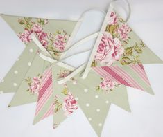Fabric Bunting Shabby Chic Style Flowers Dots & Stripes green with pink 9 two sided flags Wedding, Christening, Baby Shower, Birthday Decor on Etsy, £12.67
