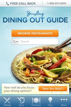 The Jenny Craig Dining Out Guide iPhone application is FREE.